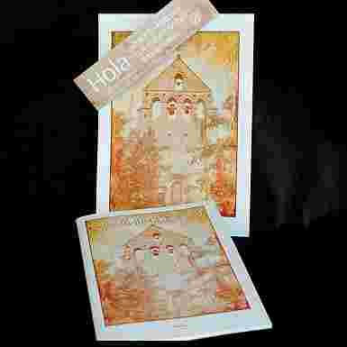Libreta  con la imagen de la espadaña del Monasterio de Aguilar-Sepia
