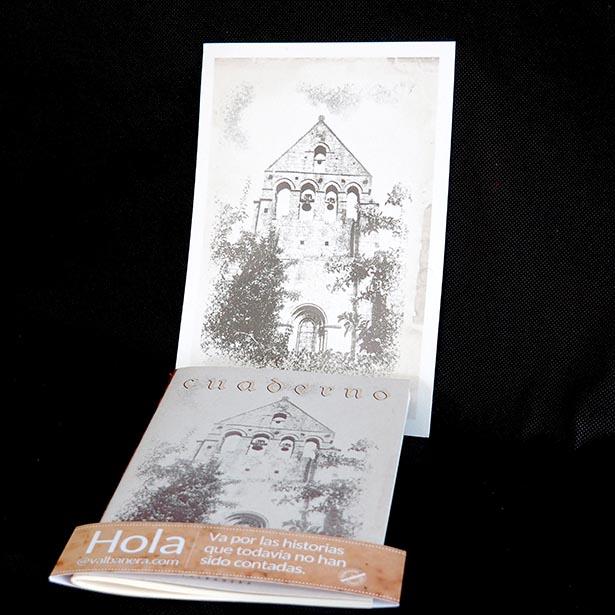 Libreta  con la imagen de la espadaña del Monasterio de Aguilar-Gris