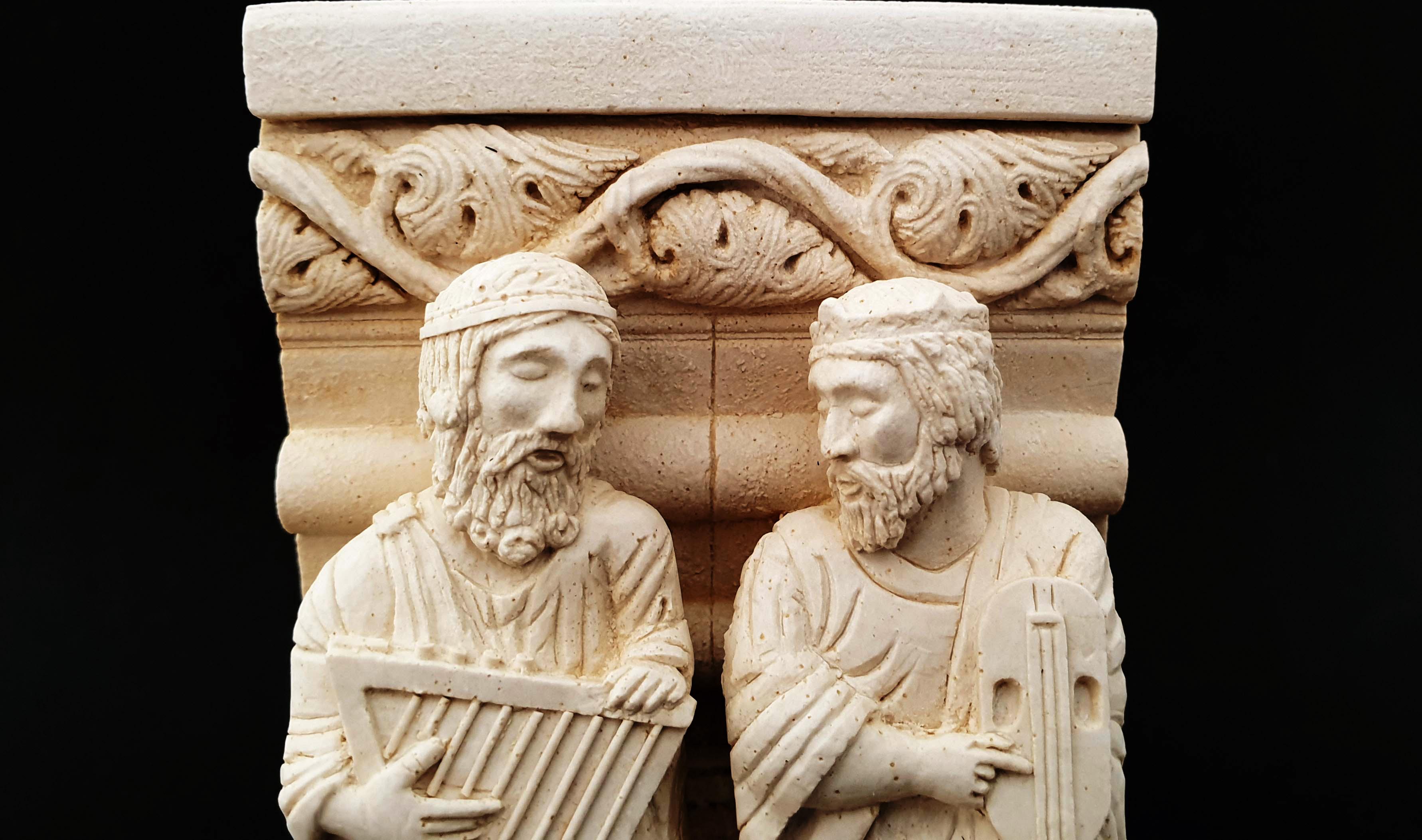 Músicos 2 - Arpa y fídula - Pórtico de la Gloria (Santiago de Compostela) (A Coruña)